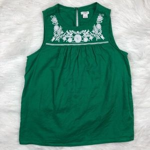 J Crew Green Linen Embroidered Tank